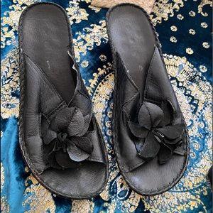 Leather black sandals -flower design. 100% leather/ heel/bottom man made.